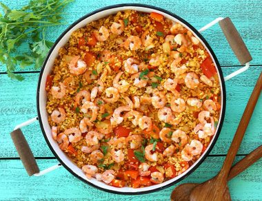Easy Shrimp Paella with Turmeric Cauliflower Rice