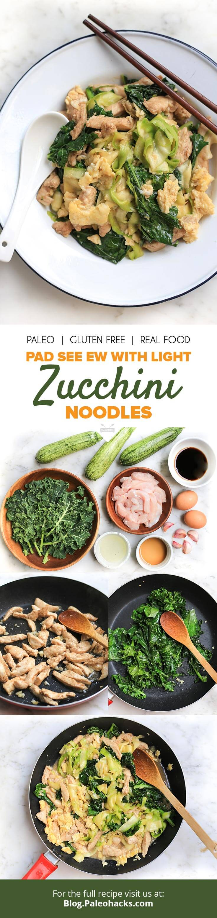 pad see ew with light zucchini noodles recipe paleohacks