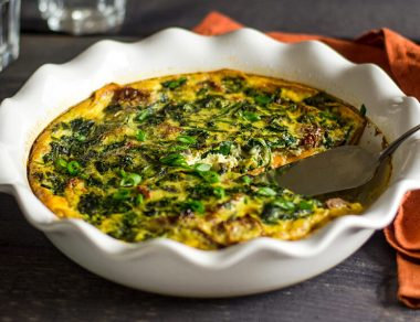 Spinach Quiche with a Sweet Potato Crust