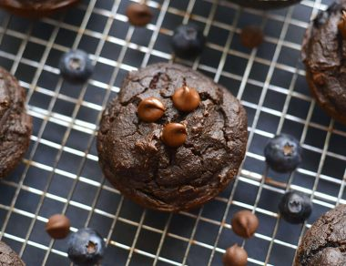 Chocolate Avocado Blueberry Muffins