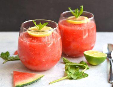 Easy Mint Watermelon Slushies
