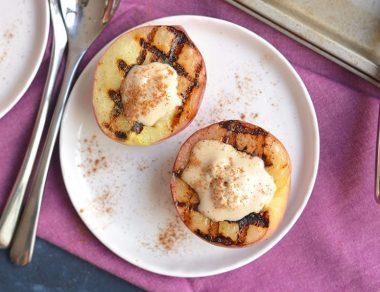 Grilled Peaches with Coconut Milk Ice Cream