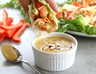 Healthy Chicken Lettuce Wraps with Almond Butter Sauce