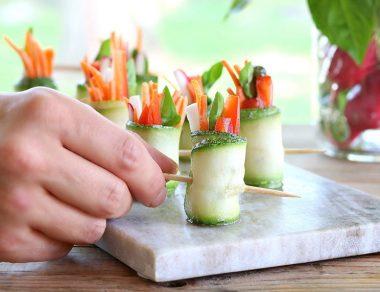 Raw Zucchini Rolls with Paleo Pesto