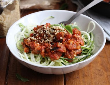 Zucchini Noodles with Meatless Mushroom Sauce
