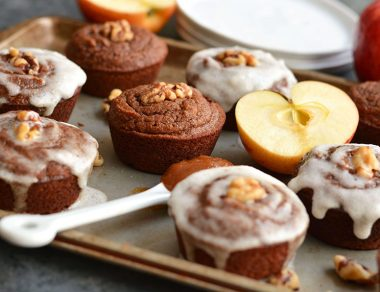 Apple Butter Muffins with Coconut Honey Frosting