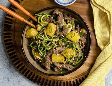One Pot Beef Stir Fry with Zoodles