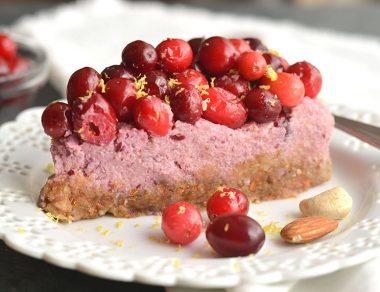 Raw Cranberry Cheesecake (Dairy Free, Paleo, No Bake)
