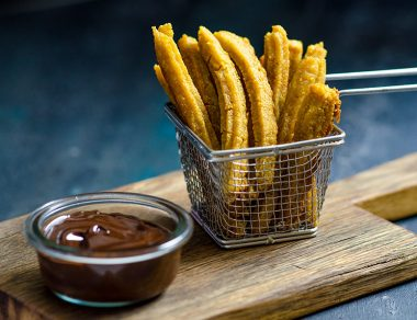 Sweet Potato Churros Dipped in Dark Chocolate