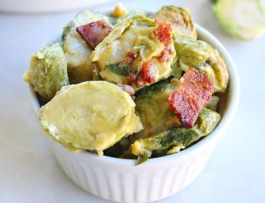 Baked Bacon Brussels Sprouts Au Gratin