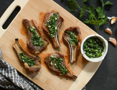 Lamb Lollipops Drizzled in Garlic-Parsley Sauce