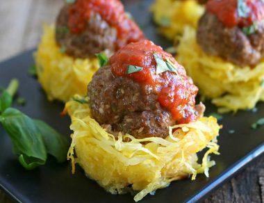 Meatballs in Spaghetti Squash Nests
