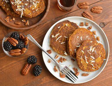 Pumpkin Spice Coconut Flour Pancakes