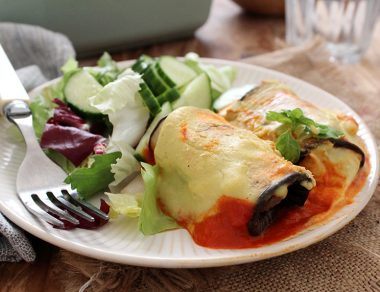 Tortilla-Less Eggplant Enchiladas with Cashew Cheese