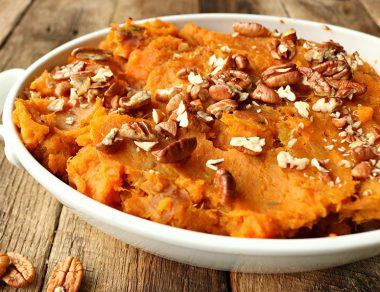 Mashed Sweet Potatoes with Maple Ghee & Pecans