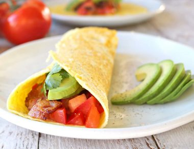 Low Carb Keto Breakfast Burrito with Bacon and Avocado