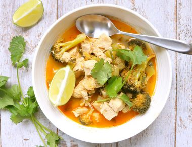 One-Pot Coconut Curry Soup with Chicken + Veggies