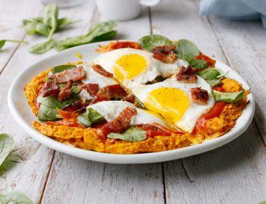 Paleo Veggie Bacon Breakfast Pizza with Sweet Potato Crust