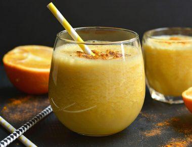 Frothy Vanilla Turmeric Orange Juice with Anti-Inflammatory Benefits