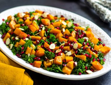 Kale Salad with Caramelized Butternut Squash + Honey Balsamic Dressing
