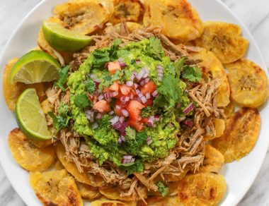 Loaded Crispy Plantain Nachos with Pulled Pork + Guac