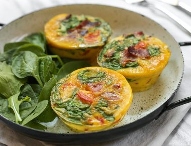 Easy Egg Muffins with Bacon + Spinach
