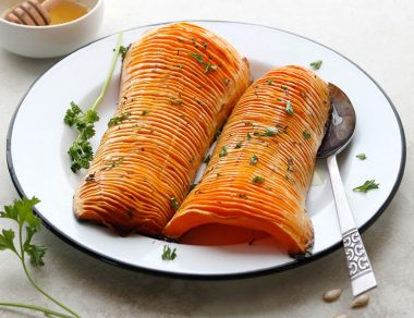 Hasselback Butternut Squash with Buttery Honey Glaze