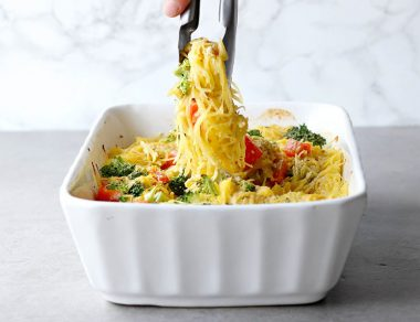 Light Spaghetti Squash Casserole with Creamy Dairy-Free Sauce