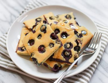 Sheet Pan Blueberry Paleo Pancakes (No Flipping Necessary!)