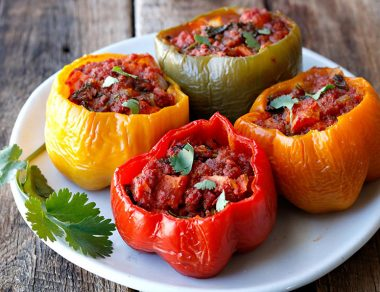 Slow Cooker Jerky and Kale Stuffed Peppers