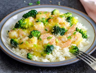 Paleo Orange Shrimp and Broccoli with Cauliflower Rice