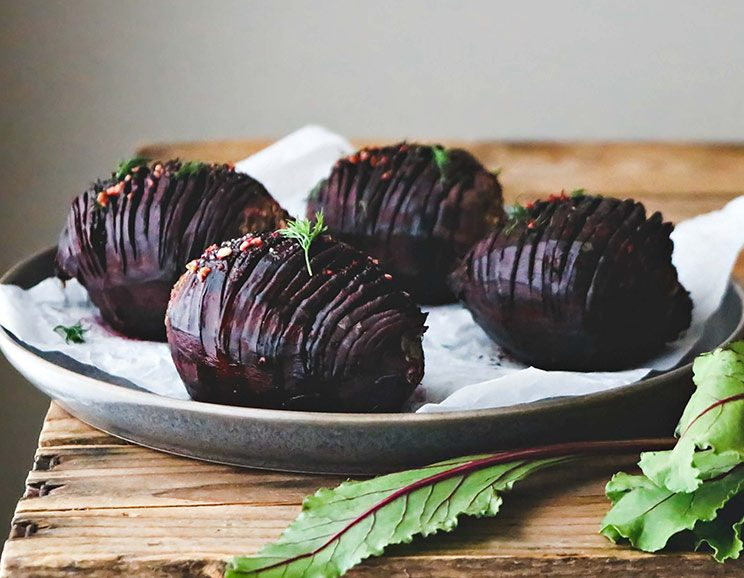 Hasselback Beets with Fresh Garlic + Dill