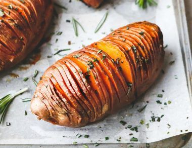 Hasselback Sweet Potatoes Drizzled in Rosemary Ghee (Antioxidant-Rich)