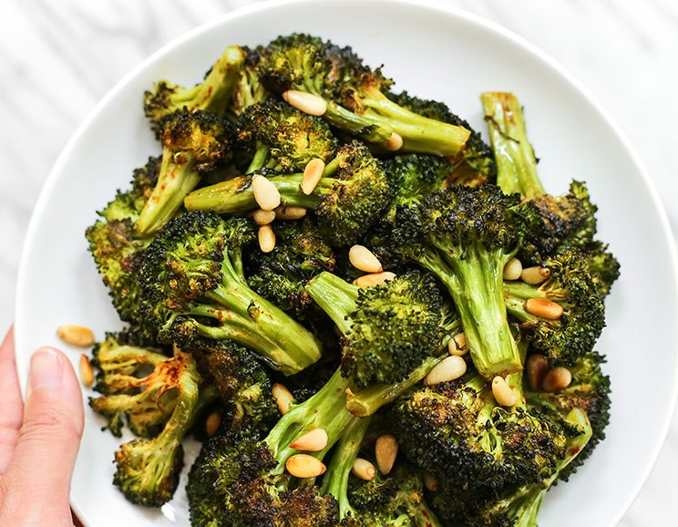 Roasted Broccoli with Toasted Pine Nuts (how to make the best broccoli ever!)