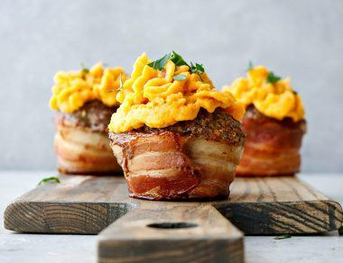 Bacon-Wrapped Meatloaf Cupcakes with Sweet Potato 'Frosting'