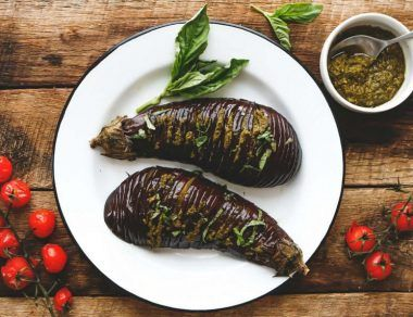 Hasselback Eggplant Stuffed with Pesto