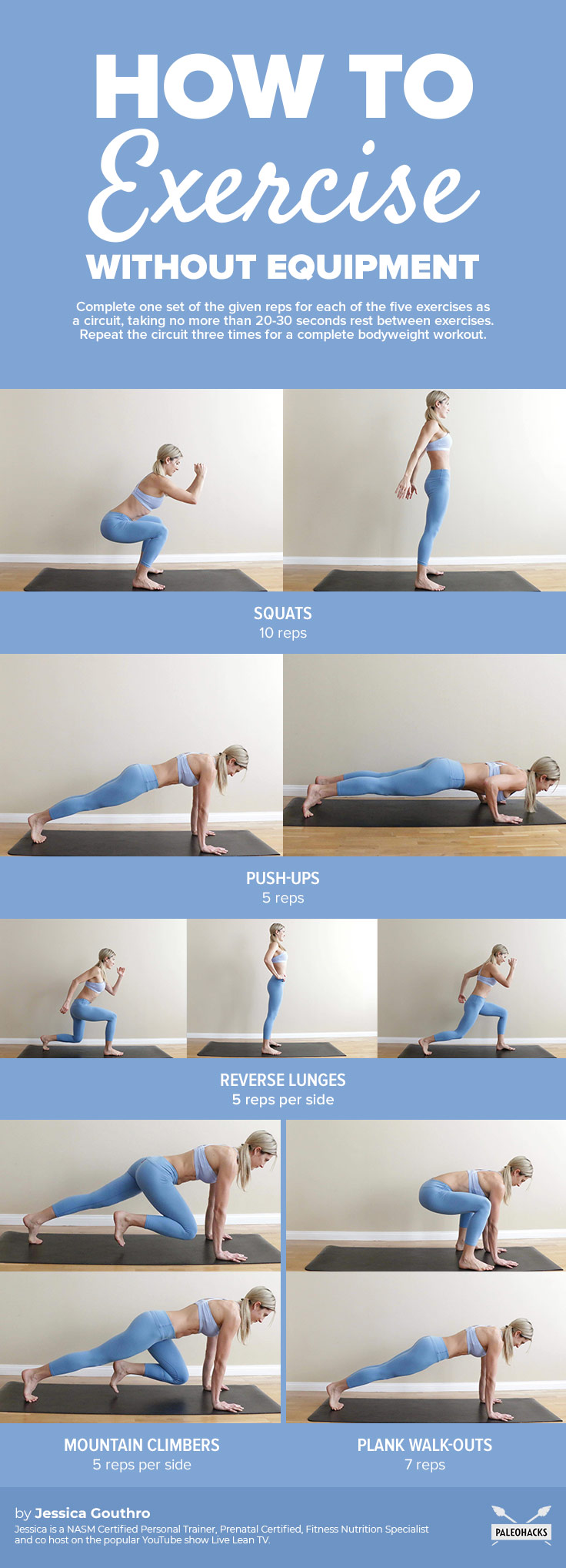 How To Exercise Without Equipment Infog