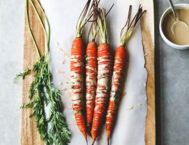 Hasselback Carrots Drizzled in Creamy Tahini