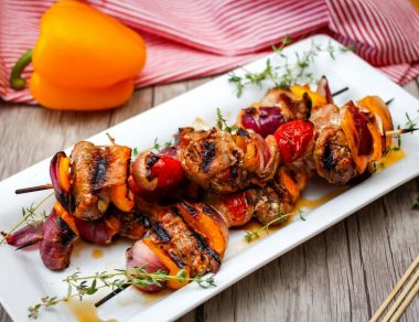 Bacon-Wrapped Maple Balsamic Chicken and Veggie Skewers