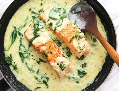 Pan-Seared Salmon with Creamy Garlicky Ghee Sauce