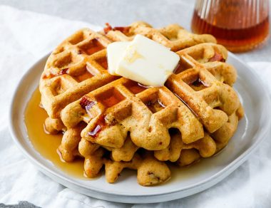 Fluffy Bacon Sweet Potato Waffles
