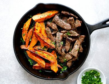 One-Pan Garlic Steak and Sweet Potato Fries