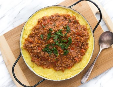 Creamy Cauliflower Polenta with Beef Bolognese