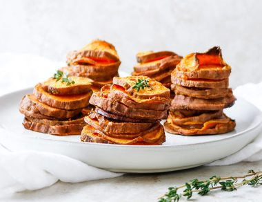 Garlic Roasted Sweet Potato Stacks