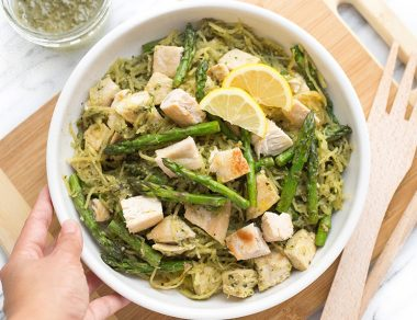 Pesto Chicken Spaghetti Squash with Asparagus