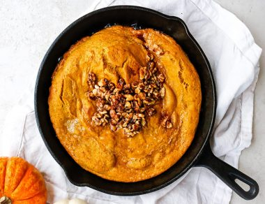 Pumpkin Spice Dutch Baby with Crunchy Walnut Topping