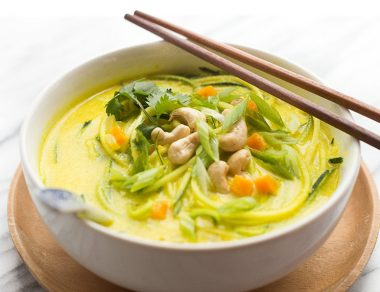 Yellow Coconut Curry Zoodle Soup