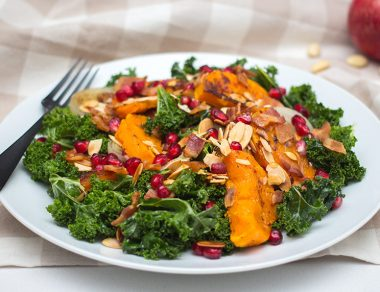 Butternut Squash Kale Salad with Juicy Pomegranate Seeds