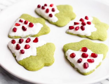 Matcha Christmas Tree Shortbread Cookies
