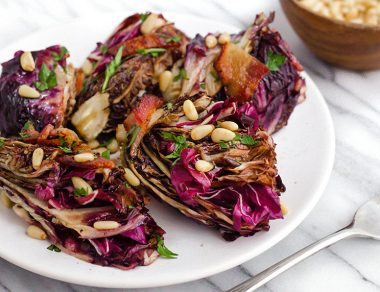 Roasted Balsamic Radicchio with Bacon and Pine Nuts